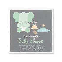 Mint Green Elephant in Diapers Bird Baby Shower Napkin