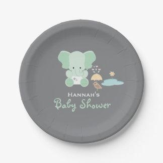 Mint Green Elephant Little Bird Baby Shower 7 Inch Paper Plate