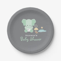 Mint Green Elephant Little Bird Baby Shower Paper Plate