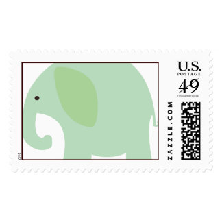 Mint Green Elephant Postage Stamps