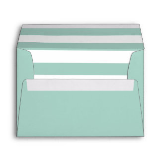 Mint Green Envelope With Mint and White Stripes