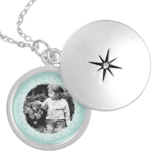 Mint Green Fancy Frame Custom Photo Round Locket Necklace