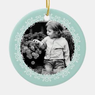 Mint Green Fancy Swirls Photo Frame Ceramic Ornament