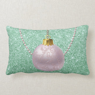 Mint Green Faux Glitter Soft Pink Ornament Lumbar Pillow
