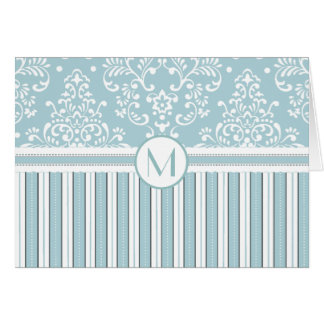 Mint Green Floral Damask and Stripes Monogram Card