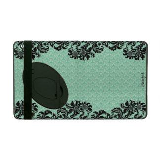 Mint Green Floral Damasks & Black Floral Lace iPad Folio Cases