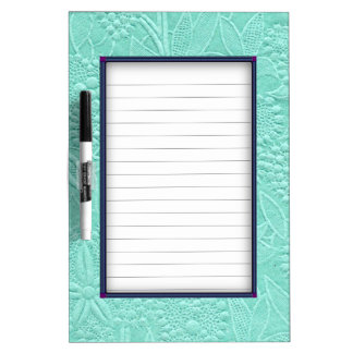 Mint Green Floral Dry-Erase Board