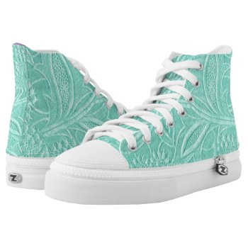 Mint Green Floral High-Top Sneakers