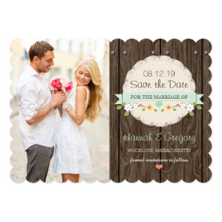 Mint Green Floral Rustic Boho Save the Date Card