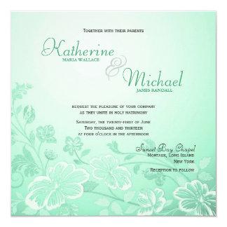"Mint Green Floral Wedding Invitations 5.25"" Square Invitation Card"
