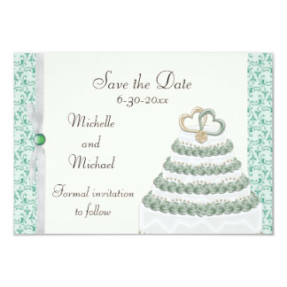 Mint Green Florentine Save the Date 3.5x5 Paper Invitation Card