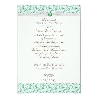 "Mint Green Florentine Wedding Invitation 5"" X 7"" Invitation Card"