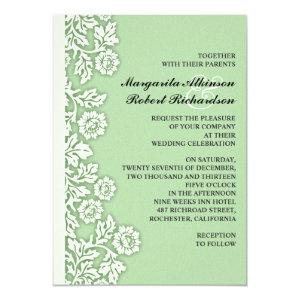 mint green flourishes pretty wedding invitations 5