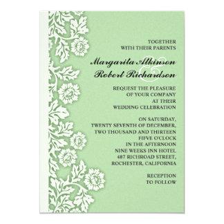 "mint green flourishes pretty wedding invitations 5"" x 7"" invitation card"