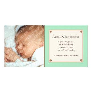 Mint Green Flower Baby Photo Card