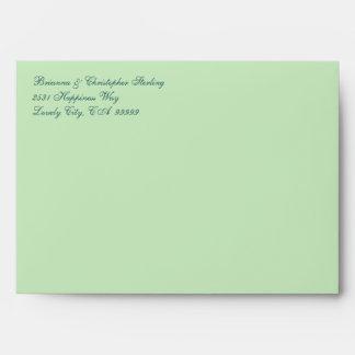 Mint Green Flowered Damask Invitation Envelopes
