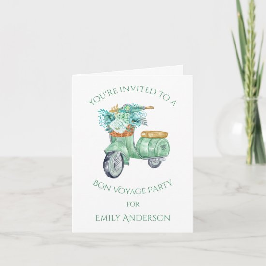 Mint Green Flowers and Scooter Bon Voyage Party | Invitation