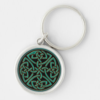 Mint Green Four Sided Celtic Knots Keychain