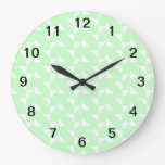 Mint Green Geometric Abstract Pattern. Round Clocks
