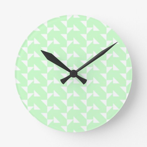 Mint Green Geometric Abstract Pattern. Wall Clock