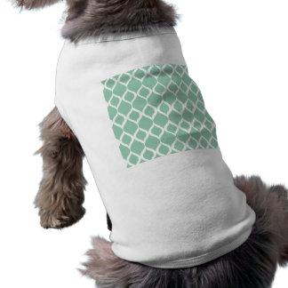 Mint Green Geometric Ikat Tribal Print Pattern Doggie Tshirt