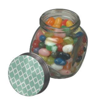 Mint Green Geometric Ikat Tribal Print Pattern Jelly Belly Candy Jars