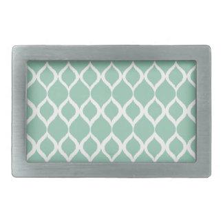 Mint Green Geometric Ikat Tribal Print Pattern Rectangular Belt Buckle