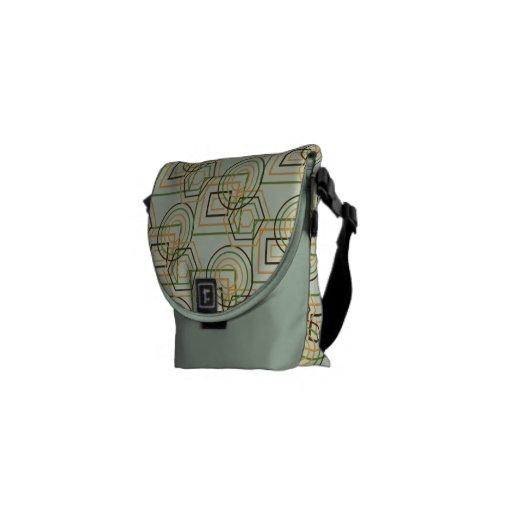 Mint Green Geometric Pattern Messenger Bags