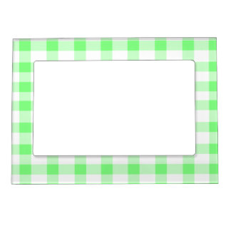 Mint Green Gingham Picture Frame Magnets