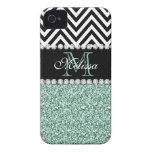MINT GREEN GLITTER BLACK CHEVRON MONOGRAMMED iPhone 4 COVER