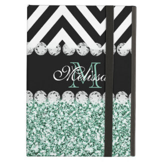 MINT GREEN GLITTER BLACK CHEVRON MONOGRAMMED CASE FOR iPad AIR