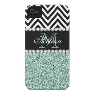MINT GREEN GLITTER BLACK CHEVRON MONOGRAMMED Case-Mate iPhone 4 CASE