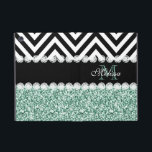 "MINT GREEN GLITTER BLACK CHEVRON MONOGRAMMED iPad MINI COVER<br><div class=""desc"">GIRLY MINT GREEN OR AQUA GLITTER (PRINTED EFFECT) WITH BLACK AND WHITE CHEVRON PATTERN, MONOGRAMMED WITH YOUR NAME, YOUR INITIAL OR MONOGRAM ON A BLACK STRIPE OR BAND WITH A BORDER OF PRINTED WHITE DIAMONDS. TRENDY, CHIC COOL CUTE DESIGN FOR HER, THE TRENDSETTER, THE FASHIONISTA. Design by ELke Clarke© for...</div>"