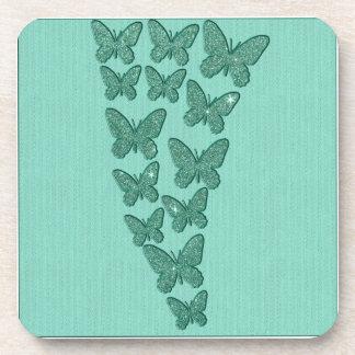 Mint Green Glitter Butterflies Drink Coaster