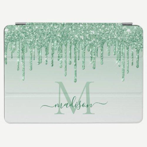 Mint Green Glitter Drips Sparkle Monogram Script iPad Air Cover