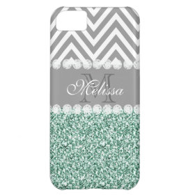 MINT GREEN GLITTER, GRAY CHEVRON, MONOGRAMMED COVER FOR iPhone 5C