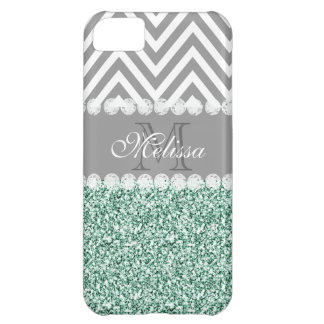 MINT GREEN GLITTER, GRAY CHEVRON, MONOGRAMMED iPhone 5C COVER