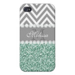 MINT GREEN GLITTER, GRAY CHEVRON, MONOGRAMMED iPhone 4 COVERS