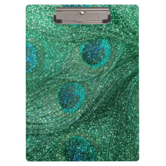 mint green glitter peacock feathers clipboards