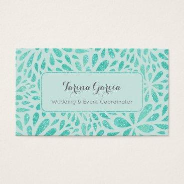 Professional Business Mint Green Glitter Splash Pattern Business Card