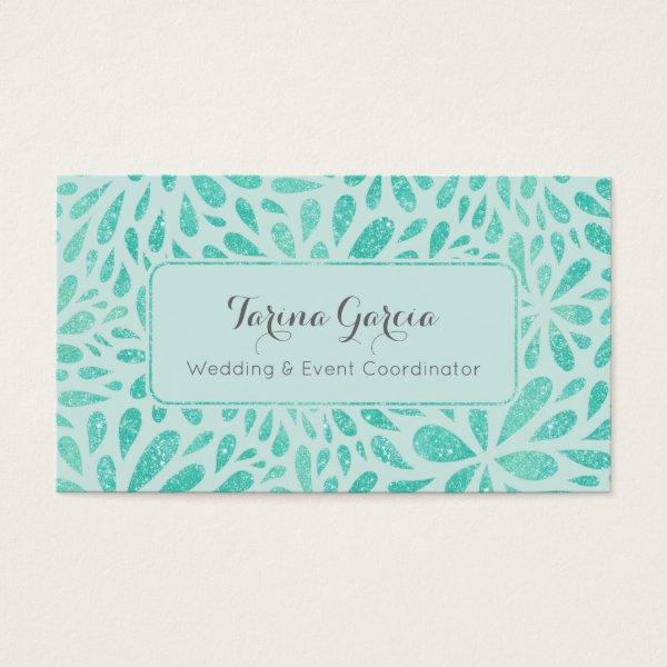 Mint Green Glitter Splash Pattern Business Card