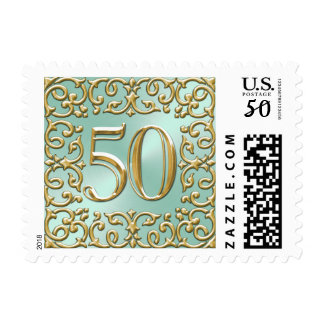 Mint Green Gold 50th Anniversary Postage Stamp
