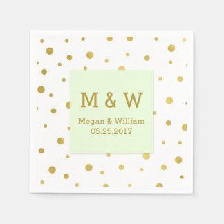 Mint Green Gold Confetti Wedding Monogram Paper Napkin