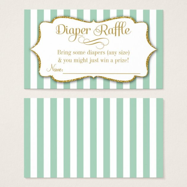 Mint Green Gold Diaper Raffle Baby Shower Invitations