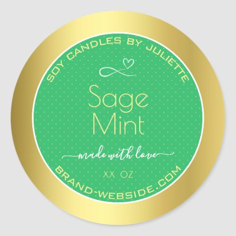 Mint Green Gold Effect Product Packaging Labels