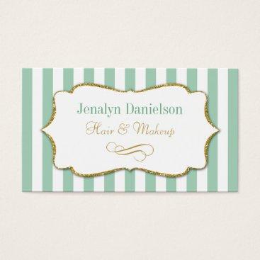 Professional Business Mint Green Gold Elegant Stripe Business Cards Sage