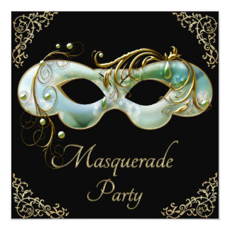 Mint Green Gold Flourishes Mask Masquerade Party Card