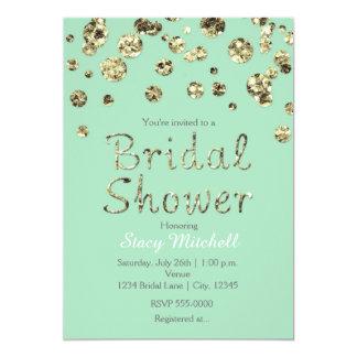 Mint Green Gold Glitter Bridal Shower Invitation