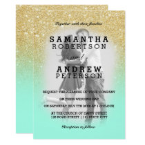Mint green gold glitter ombre photo wedding invitation