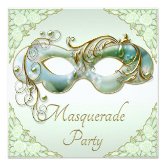 Mint Green Gold Mask Roses Masquerade Party Card